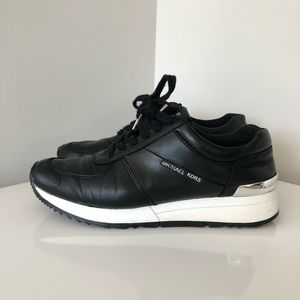 Michael Kors Black leather sneakers with silver